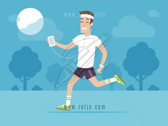 Happy man jogging outside and listening music on his smartphone vector illustration in flat style