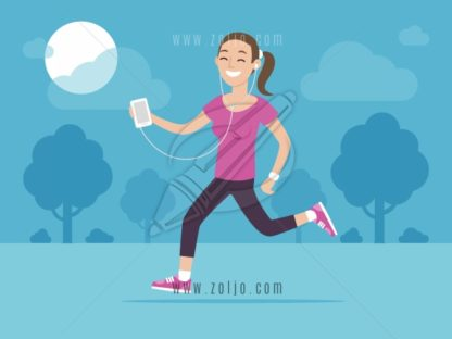 Happy woman jogging outside and listening music on his smartphone vector illustration in flat style