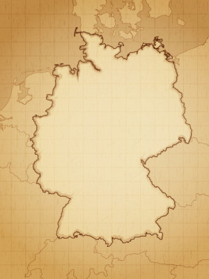 Germany map drawn on aged paper vector illustration.