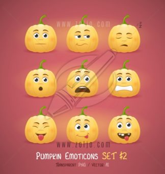 Autumn Halloween pumpkin face emoticons vector illustration - second set
