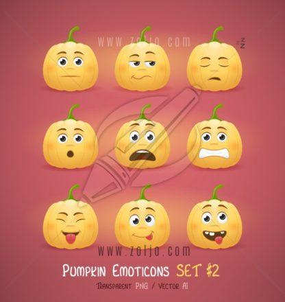 Autumn Halloween pumpkin face emoticons vector illustration - second set