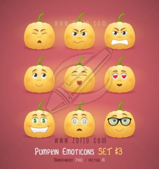 Autumn Halloween pumpkin face emoticons vector illustration - third set