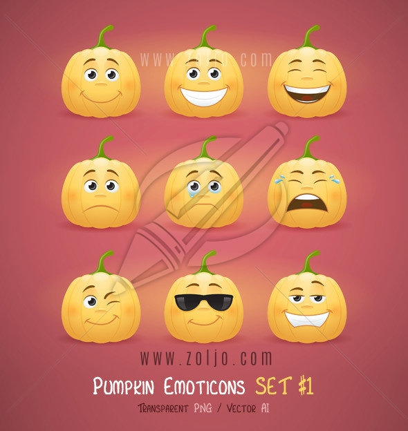Autumn Halloween pumpkin face emoticons vector illustration - first set