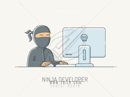 Ninja developer designer working on computer vector illustration in scribble linework style
