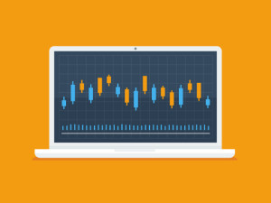 Laptop computer with forex trader candlestick graph vector illustration in flat style.