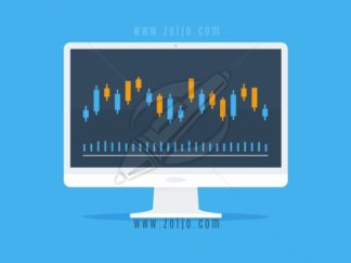 White computer monitor with Forex graph candlesticks vector illustration in flat style