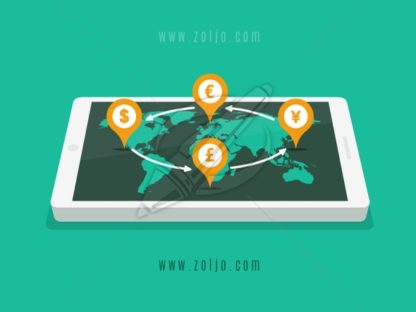 Smartphone with world map and Forex dollar,euro,pound and yen currency signs on map pointers vector illustration in flat style