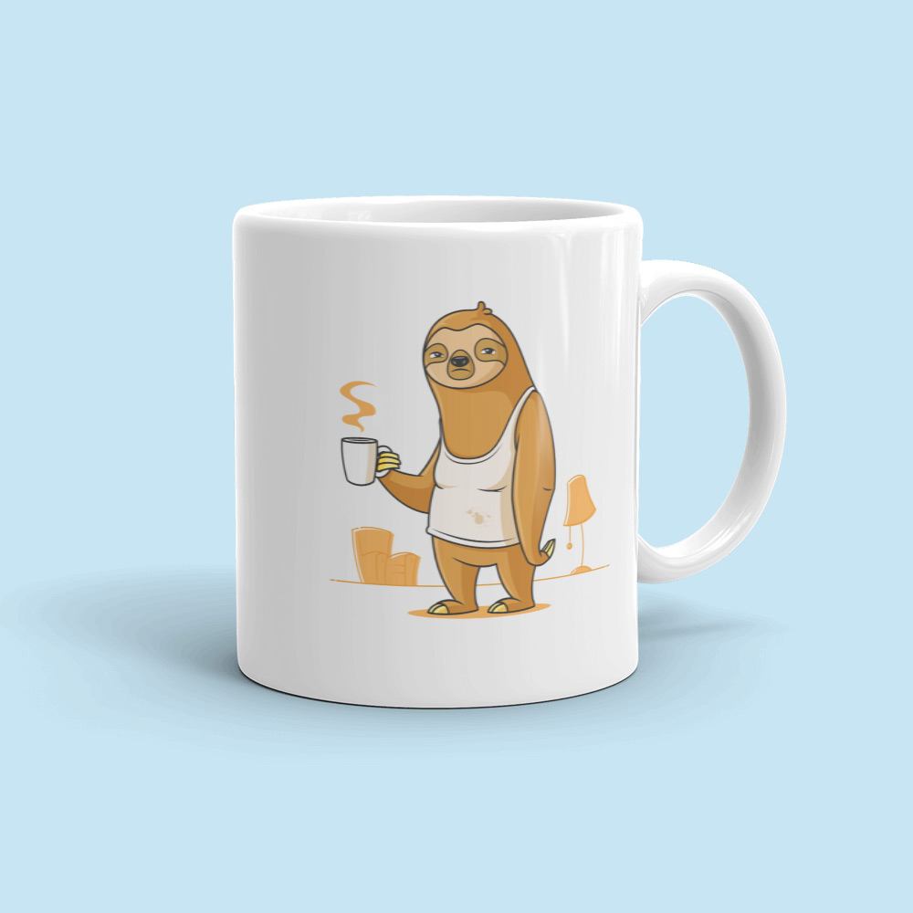 Sloth with coffee mug