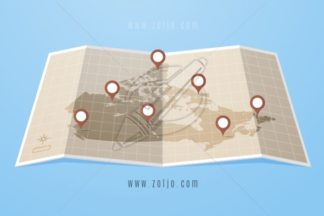Map of Canada With Location Markers Vector Illustration in Flat Style