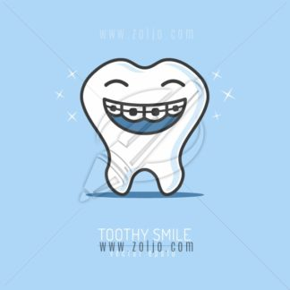 Happy tooth cartoon mascot with braces on teeth smiling vector illustration