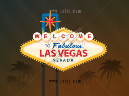 Welcome to fabulous Las Vegas Nevada sign with palm trees in the background vector illustration