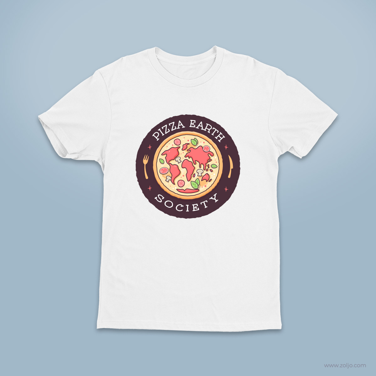 Pizza Earth Society T-shirt, stickers,mugs,merchandise
