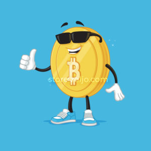 Cool Bitcoin mascot with sunglasses showing thumb up vector cartoon illustration