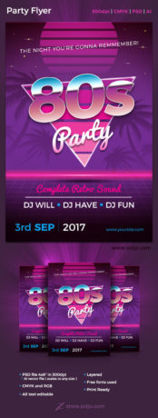 80s Party Flyer Template - Vector Adobe Illustrator and High resolution Photoshop PSD