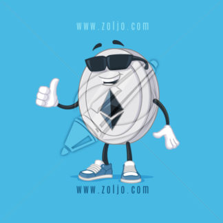 Ethereum coin mascot cool, with sunglasses vector cartoon illustration