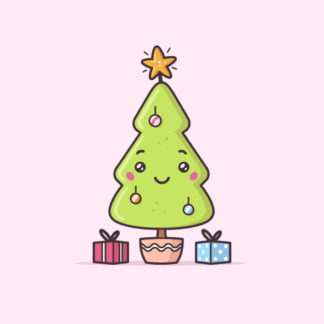 Cute Christmas tree kawaii vector stock illustration