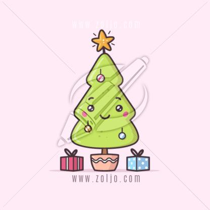 Cute Christmas tree kawaii vector stock illustration