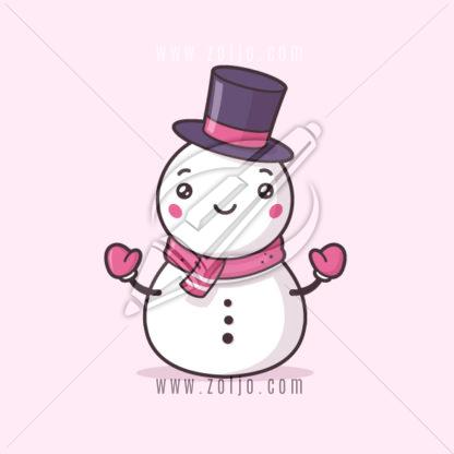 Cute snowman kawaii vector illustration