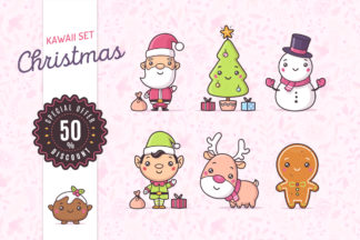 Christmas kawaii illustrations set