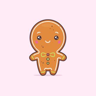 Christmas gingerbread man cute cartoon kawaii vector illustration
