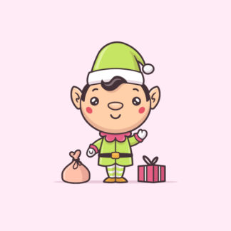 Cute kawaii Christmas elf vector cartoon illustration