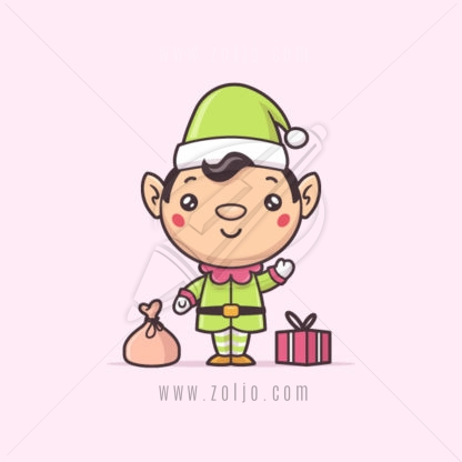 Cute kawaii Christmas elf vector cartoon illustration