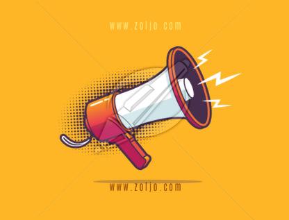 Bullhorn - megaphone vector illustration in pop art style