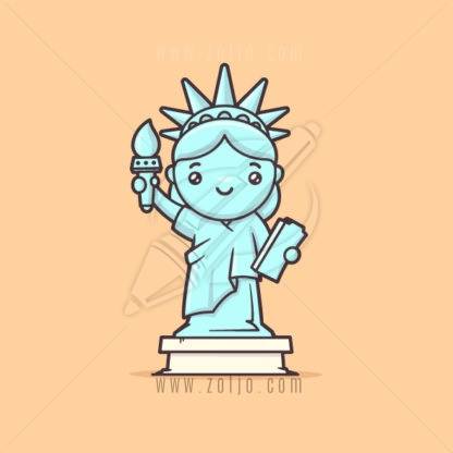 Cute kawaii Statue of Liberty vector cartoon illustration